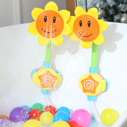 baby bath shower spray UK - Kids Shower Bath Toys Cute Yellow Duck Waterwheel Elephant Toys Baby Faucet Bathing Water Spray Dabbling Toy Dropshipping
