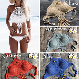 crochet bikini sets UK - Charming Crochet Bikini Swimsuit Swimwear Women Bikini Set Biquini Bathing Suit Beach Maillot De Bain Swim Suit Swim Wear