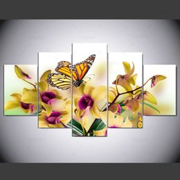 print large pictures NZ - 5 Panel Large Modern Flower Butterfly Canvas Oil Painting Cuadros Wall Art Picture For Living Room Printed Ny-292