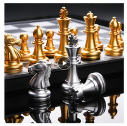 Medieval International Chess Set With Chessboard 32 Gold Silver Chess Games Pieces Magnetic Board Game Chess Figure Sets Checker on Sale