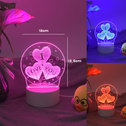 novelty candle light NZ - Battery Desk Lamp 3D Lamp Novelty Night Light Kid Christmas Gift Toys New Love Heart Shape Table lamp USB LED 7 Colors Changing