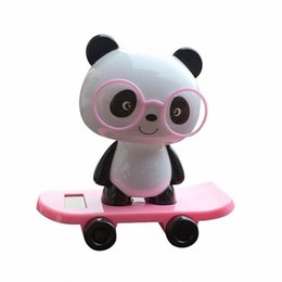 animate toys Australia - Hot Selling Pink Cute Panda Solar Powered Dancing Animal Swinging Animated Bobble Dancer Toy Car Decor New Gift Dropshipping Jm1T#