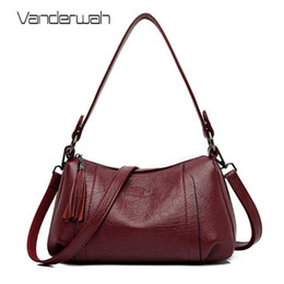 soft leather bags for women Australia - Women Soft Leather Handbags High Quality Tassel Crossbody Bags for Women Leather Messenger Bags Vintage Sac A Main