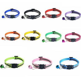Reflective Cat Collars Safety Buckle Collar Bell Cat Adjustable Leads Small Animal Puppy Pet Supplies Accessories DWB961 on Sale