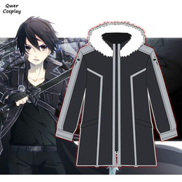 anime sword art Canada - Anime SAO Sword Art Online Cosplay Hoodie Kirigaya Kazuto Kirito Warm Thicken Hooded Fleece Jackets Zipper Coat Costumes