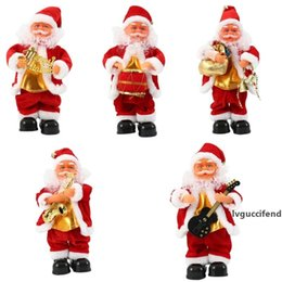 dance christmas ornament UK - Electric Santa Claus Xmas Singing Dancing Saxophone Doll Toy Kids New Year Gift Home Desktop Ornament