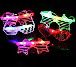 light up rave glasses UK - LED Glasses Heart Shape Glowing Party Glasses Light Up Shades Rave Shutters Luminous Glass DJ Party Decoration Christmas Props