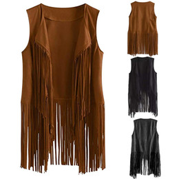 tassel fringe jacket NZ - Fringe Sleeveless Jacket Women Leather Suede Tassels Vintage Cowgirl Coat Women Cardigan sleeveless Jacket Chaqueta Mujer