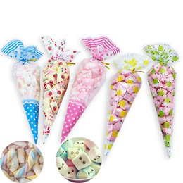 plastic supplies NZ - heap Gift Bags & Wrapping Supplies 50pcs set Cute Triangular Plastic Bag DIY Wedding Birthday Party Sweet Candy Bag Cookie Cone Storage G...