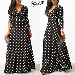 stylish maxi dresses sleeves UK - Fashion-Women Long Maxi Dresses Bohemia V-neck Three Quarter Sleeve Dots Print Ethnic Summer Beach Female Stylish Style Dress