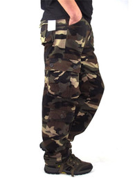Wholesale army print cargo pants for sale – dress Men s Cargo Pants Outwear Camouflage Baggy Combat Multi pockets Casual Trousers Overalls Army Tactical Pants Size