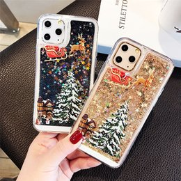 cartoon quicksand case NZ - Cartoon Phone Case For iPhone 11 Pro XS max xr 6s 7 8 plus Christmas Quicksand Giltter Cover For samsung s10 s9 s8 plus note 9 8 10 10+