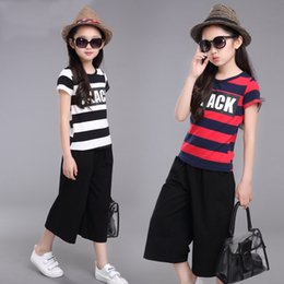big girls short pants NZ - Children's girl Summer new striped cotton children wide leg pants short-sleeved in the big sports suit Sportswear Shorts and shorts