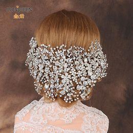 Toptan satış TOPQUEEN HP240 Lüks kristal gelin saç aksesuarları düğün başlık parçaları elmas taklidi düğün taç saç bantlarında kadın kron Yarışması Y200727