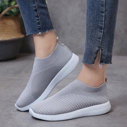ladies running shoe UK - New Plus Size 43 Breathable Mesh Platform Sneakers Women Slip on Soft Ladies Casual Running Shoes Woman Knit Sock Shoes Flats