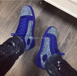 pointed shoes price men Australia - Wholesale Price Name Brand Red Bottom Sneakers Man Casual Woman Rhinestone Crystal Suede Trainer Cheap Couple Skateboard Shoe
