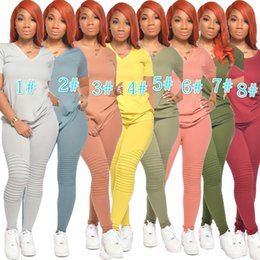 Wholesale ladies high neck red t shirt for sale – custom Womens Shorts Piece Set Tracksuit Designer Jogging Sportsuit T Shirt Long Pants Outfits Plus Size Ladies Casual Wear Hot Selling
