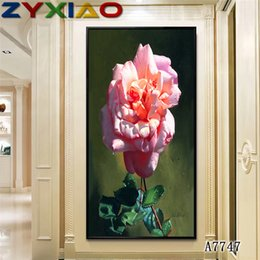 oil painting big flowers UK - ZYXIAO Big Size Oil Painting Art flower pink rose vase Home Decor on Canvas Modern Wall Art No Frame Print Poster picture A7747