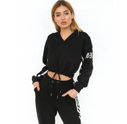 sports hoodie set for women UK - Black stripes tracksuit for women crop tops two piece set hoodies sweatshirts casual sporting women's suits