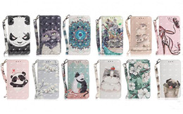 3d panda cover UK - 3D Cat Dog Panda Wallet flip flower PU Leather with Strap Covers Cases for Samsung A21S A51 A71 5G A11 A41 A31 A70E A21 A81 A91 S20 PLUS