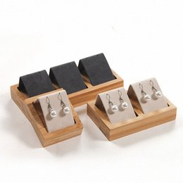 display trays for jewelry NZ - 1 2 3 grids Bamboo Wood Earrings Display Tray 4 Sizes To Choose For Woman Earrings Display Stand Jewelry Tray FS7O#
