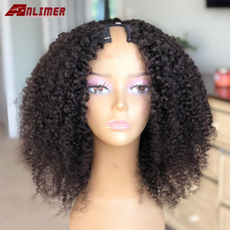 short afro kinky human hair Australia - Short Afro Kinky Curly U Part Wig 250% Density Human Hair Brazilian Remy Hair 1*3'' U Part Wigs Kinky Curly For Woman Anlimer