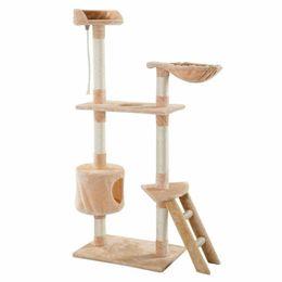 Wholesale cat towers online – design New Cat Tree Tower Beige Condo Scratcher Furniture Kitten Pet House Hammock quot