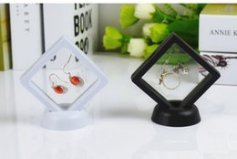 displays case for rings Canada - Jewelry Ring Pendant Display Stand Suspended Floating Display Case Jewellery Coins Gems Artefacts Stand Holder Box For Women white black