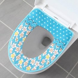 warm toilet seat covers Canada - Wholesale Toilet Seat Covers Decoration Cover Warmer Soft Toilet Seat Cover Plush Pedestal Pan Cushion O-shaped Cushion Print BC BH0463