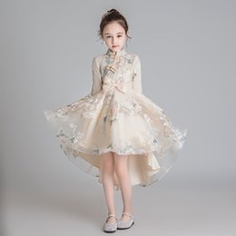 Wholesale chinese clothes for kids resale online - Chinese style Girls cheongsam dress kids national trailing mesh princess dress for girl Birthday Party children s clothing Y T200709