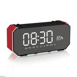 mobile mirrors Canada - Wireless Bluetooth Speaker mirror LED time alarm clock with Fm Radio Tf Card MP3 for mobile phone mini portable card gift