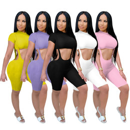 pit crew shirts Canada - women tow pieces outlits womens solid color T-shirt suspender pants shorts high elasticity pit summer womens casual two-piece set S-XXLTR110