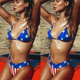 swimsuits flag usa Canada - 2020 Triangle Halter Summer Sexy Women Stars Stripes Usa Flag Bikini Bikinis Padded Bra Swimsuit America Flag Swimwear Backless Beach