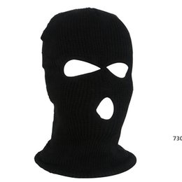 winter mask men NZ - OutdoorCycling Acrylic Yarn Full Face Mask Bicycle Ski Bike Ride Mask Winter Cap Balaclava Hood Army Tactical 3 Hole730