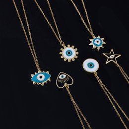 wholesale turkish coin jewelry NZ - Stainless Steel Turkish Evil Eye Pendant Necklace Round Sun Heart Star Necklaces Women Jewelry acero inoxidable joyeria mujer