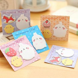 wholesale memo pads UK - 3 Type pack Cartoon Memo Pads Cute Color Animal Decoration Sticky Notes Paper Office and School Supplies Lovely Stationery Set 1Bpx#