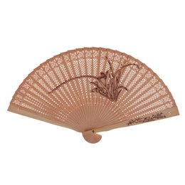 hand crafted gifts UK - women hand fan wood carving antique craft wooden folding foldable sandalwood Chinese style ladies wedding gift