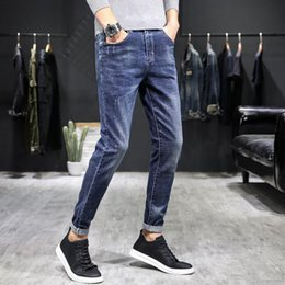 causal jeans 2020 - Men's Jeans Causal Washed Trousers Slim Straight Denim Pants cheap causal jeans