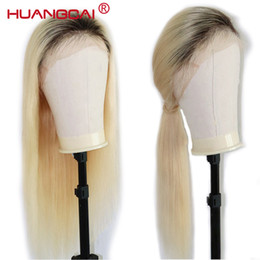 blonde ombre human hair wigs NZ - Ombre T1B 613 Lace Front Human Hair Wigs Brazilian Straight 613 Blonde Lace Front Wig Pre Plucked Lace Wig Remy Hair 26 Inch