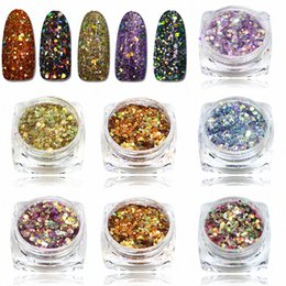 hexagon glitters UK - Wholesale STZ New Arrival Mixed Colorful Hexagon Shape Nail Glitters Nail Art Glitter Pigment 3D Beauty Polish Tips T27 40 Nails Nail 3rHy#