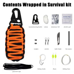 umbrella rope UK - Outdoor Emergency Kit multi-functional umbrella travel Umbrella rope travel rope woven fishing bag survival outdoor hiking bag