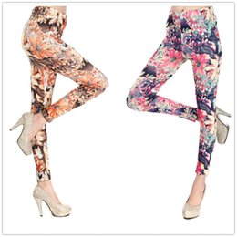 oil painting big flowers UK - 9281 style oil painting flower tight Milk silk tight pants big flower ankle-length pants milk silk printed leggings