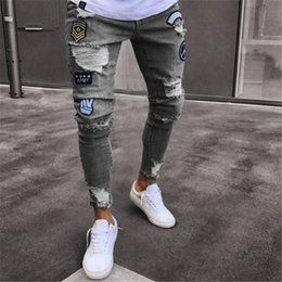 Wholesale black jeans gold zippers mens for sale - Group buy Jeans Men Hip Hop Ripped Sweatpants Skinny Motorcycle Denim Pants Zipper Designer Black Jeans Mens Casual Men Trousers