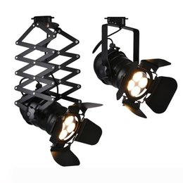 shop clothing rails NZ - Vintage E27 Track Light Loft Industrial Spotlight Rail Light Black Track Lamp for barn door Clothes Store Shop Lighting Fixtures