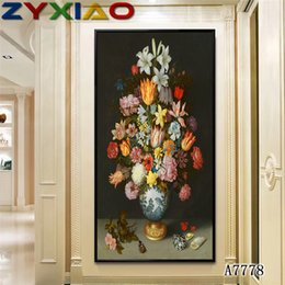 oil painting big flowers UK - ZYXIAO Big Size Oil Painting flower tulip liy Home Decor on Canvas Modern Wall Art No Frame Print Poster picture A7778