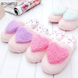 shape flat Canada - Winter Slippers Women Non-slip Plush Cute Heart-Shaped Home Shoes Womens Comfortable Soft Flat Floor Slipper Ladies Leisure Warm