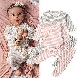 knitting baby vest UK - Autumn Clothes 2PCS Newborn Baby Girl Boy Clothes Knitted Striped Romper V Neck Button Jumpsuit Trouser Outfit Baby Set 0-18M Ejrl#
