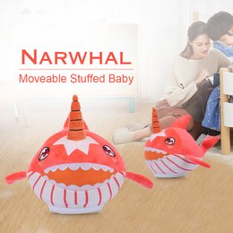 wholesale music plush toys NZ - Narwhal Moveable Stuffed Baby Plush Shark Music Toy Family Party Doll Birthday New Year Gift for Kids Pets