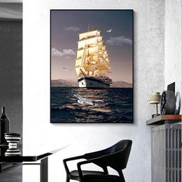 Discount paintings sailboats Modern Abstract Art Sailboat Oil Painting Canvas Painting Poster Wall Art Pictures for Living Room Home Decor (No Frame)