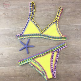 crocheted bikini set Canada - Sexy Bikinis 2020 Summer Women Swimsuit Hand Crocheted Bikini Set Swimwear Beach Bathing Suit Biquini Female Monokini